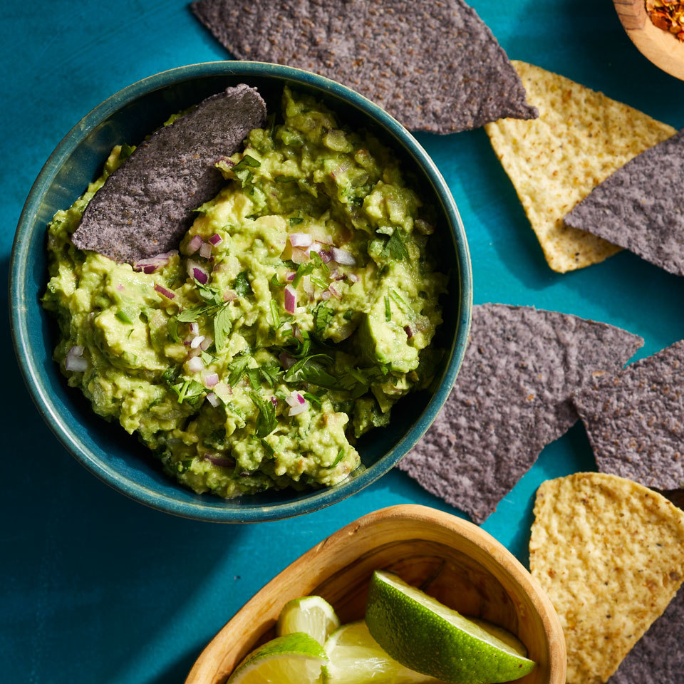 Make guacamole at home that tastes just like it came from Chipotle—but don't worry, our version won't be extra! This deliciously fresh guac is perfect for topping burrito bowls or tacos, or serve as an appetizer or healthy snack with tortilla chips and veggies.