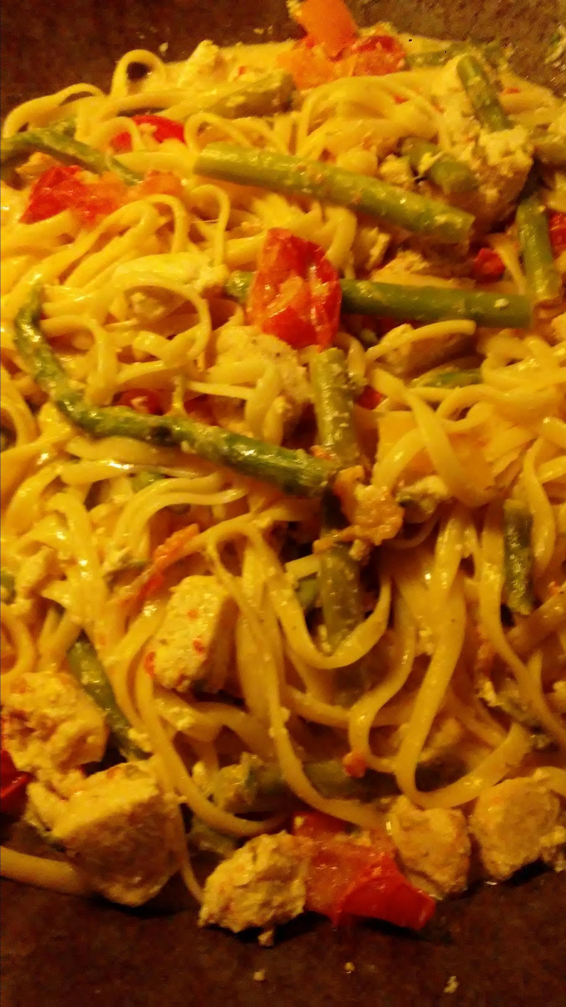 Chicken Asparagus Pasta with Cream Sauce Paula Johnson