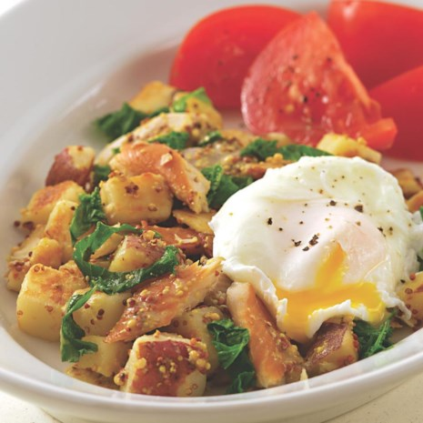 Smoked Trout Hash with Mustard Greens