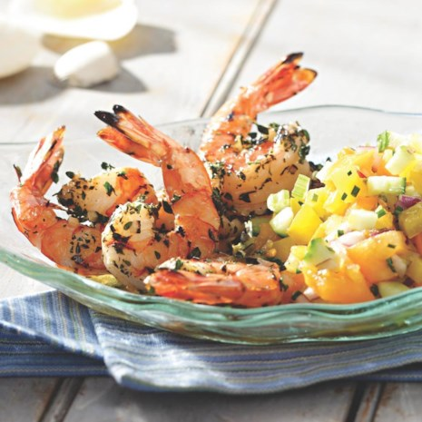 Grilled Shrimp Cocktail with Yellow Gazpacho Salsa