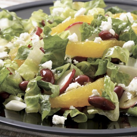 Romaine Salad with Orange, Feta & Beans