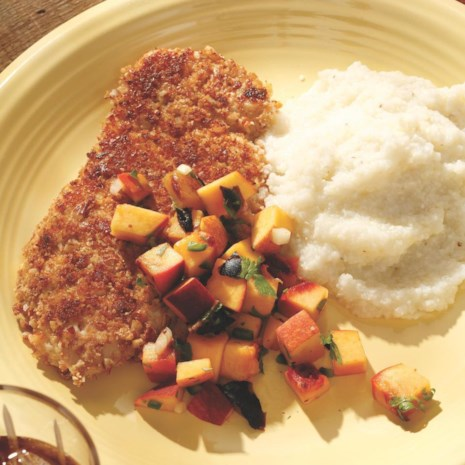 Pecan-Crusted Turkey Tenderloin with Grilled Peach Salsa