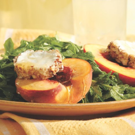 Arugula Salad with Honey-Drizzled Peaches