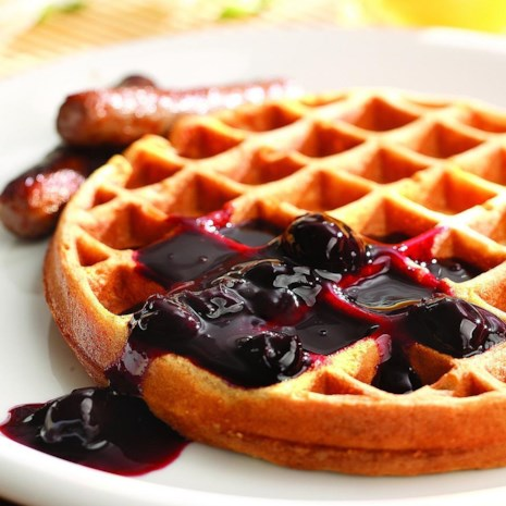 Whole-Grain Waffles with Cherry Sauce