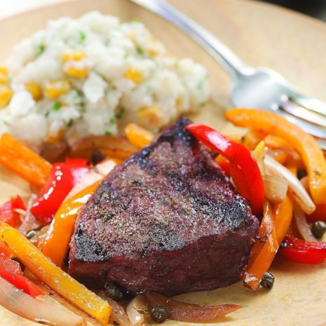 Grilled Steak with Pepper Relish