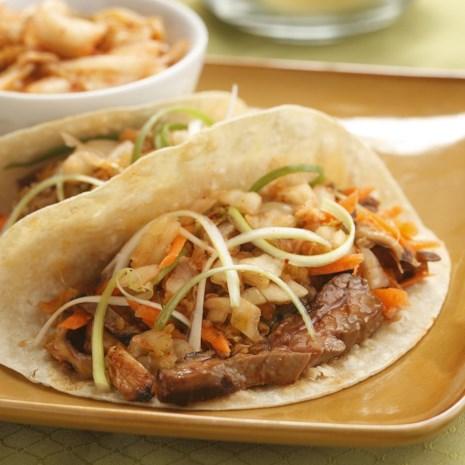 Korean Steak & Mushroom Tacos with Kimchi