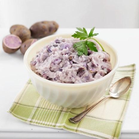 Roasted Garlic Mashed Purple Potatoes