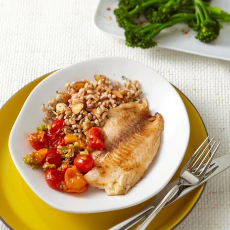 Tilapia with Tomato-Olive Sauce