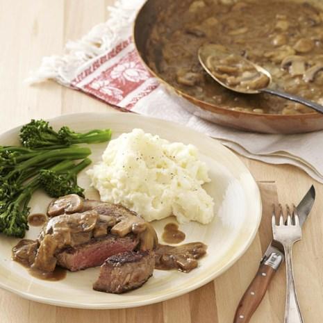 Seared Steak with Mustard-Mushroom Sauce