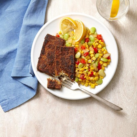 Blackened Tofu with Succotash