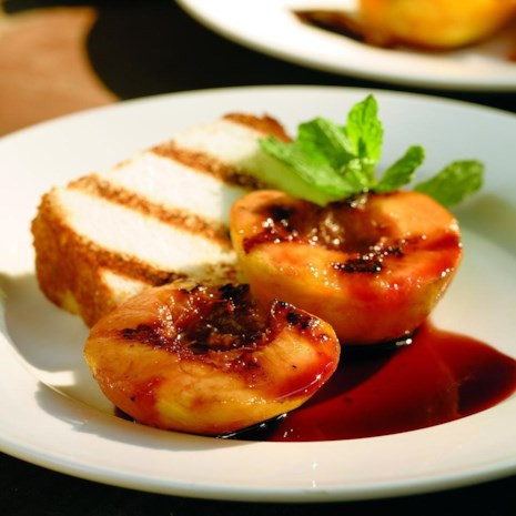 Grilled Peaches & Angel Food Cake with Red-Wine Sauce