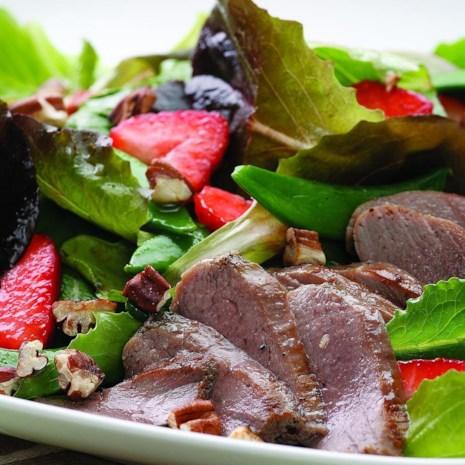 Duck & Strawberry Salad with Rhubarb Dressing