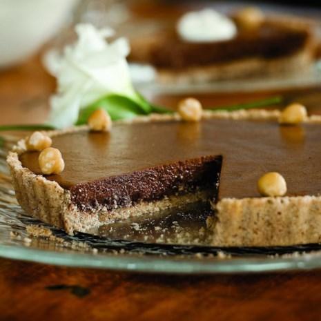 Chocolate Tart with Hazelnut Shortbread Crust