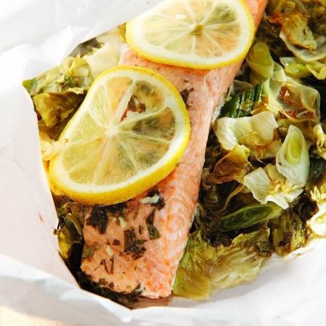 Salmon & Escarole Packets with Lemon-Tarragon Butter