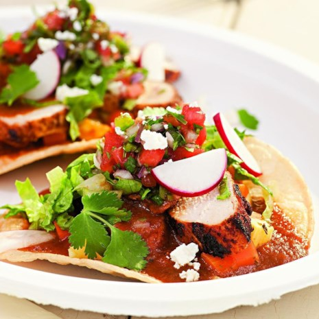 Grilled Chicken Tostadas with Sweet-&-Sour Vegetables