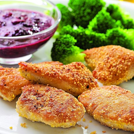 Cornmeal-Crusted Chicken Nuggets with Blackberry Mustard