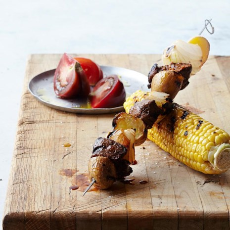 Peruvian Beef Kebabs with Grilled Corn