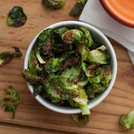 Cheesy Vegan Brussels Sprout Chips