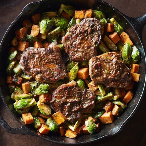 Strip Steaks with Smoky Cilantro Sauce & Roasted Vegetables