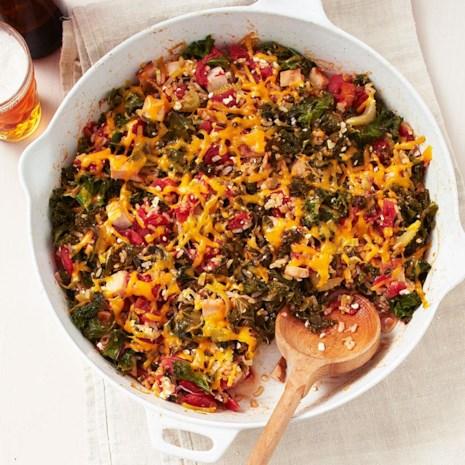 Smoked Turkey, Kale & Rice Bake