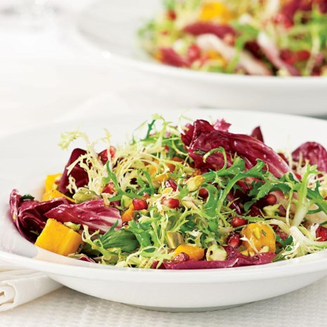 Winter Salad with Roasted Squash & Pomegranate Vinaigrette