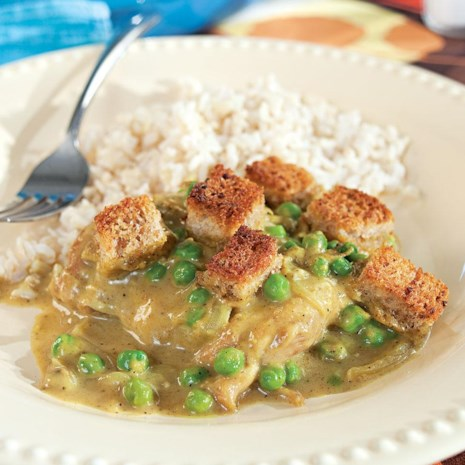 Curried Chicken Thighs with Buttery Croutons