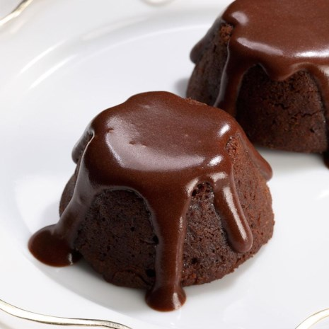 Mini Molten Chocolate Cakes with Mocha Sauce