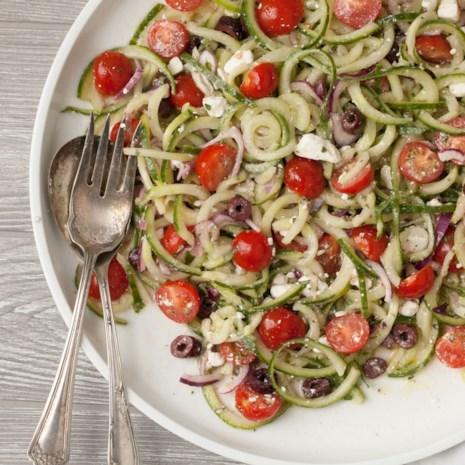 Spiralized Mediterranean Cucumber Salad