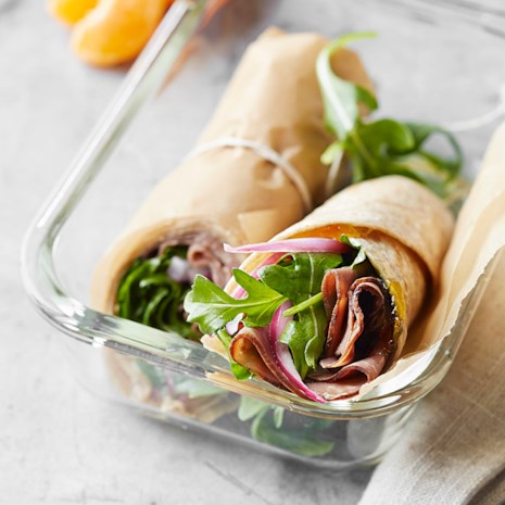Roast Beef, Arugula, and Pickled Onion Wrap
