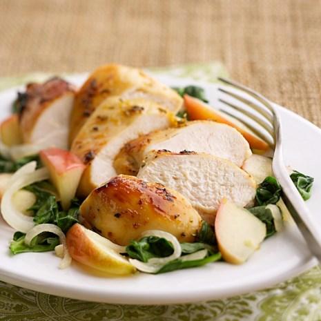 Apple-Glazed Chicken with Spinach