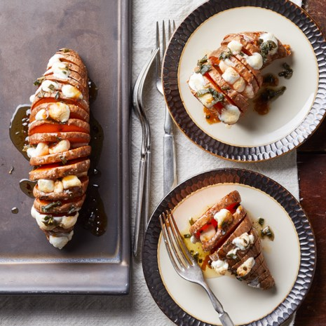 Hasselback Sweet Potatoes with Marshmallows