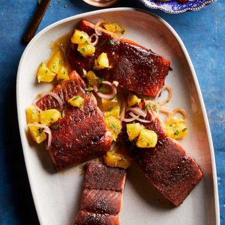 Cocoa-Rubbed Salmon with Orange Salsa