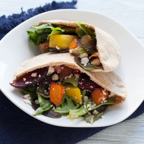 Roasted Veggie & Hummus Pita Pockets