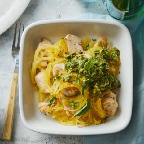 Spaghetti Squash & Chicken with Avocado Pesto
