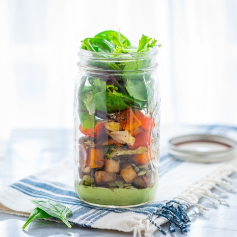 Roasted Veggie Mason Jar Salad