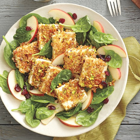 Pretzel-Pistachio-Crusted Tofu Salad