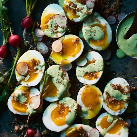 Soft Eggs with Green Goddess Dressing & Brown-Butter Breadcrumbs