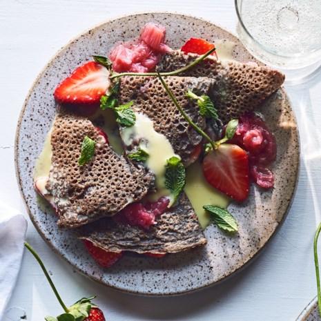 Buckwheat Crepes with Strawberries, Rhubarb & White Chocolate