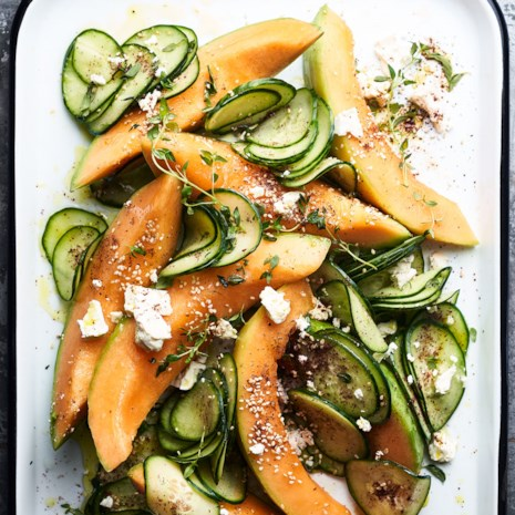 Cantaloupe & Cucumber Salad with Fresh Za'atar