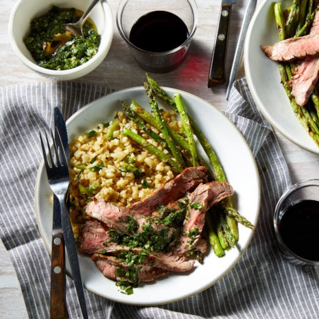 Flank Steak with Chimichurri, Asparagus & Cauliflower Rice