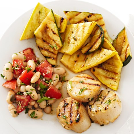 Grilled Dijon Scallops and Squash
