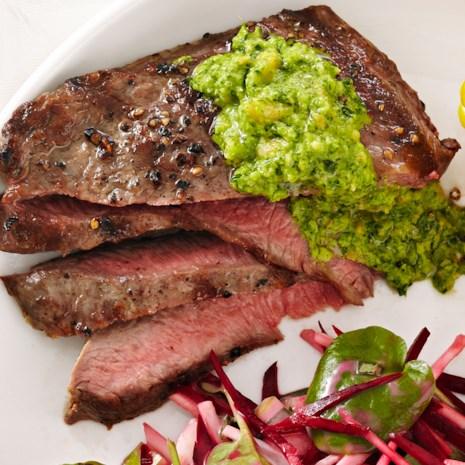 Grilled Flat Iron Steak with Watercress Pesto