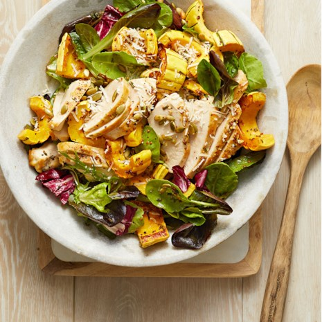 Roasted Chicken & Winter Squash over Mixed Greens