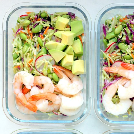 Spicy Slaw Bowls with Shrimp & Edamame