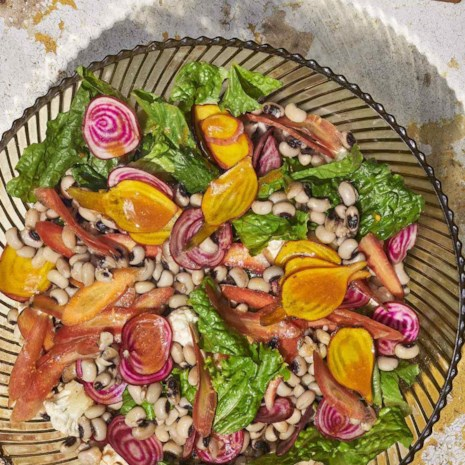 Chopped Salad with Black-Eyed Peas & Hot Sauce Vinaigrette