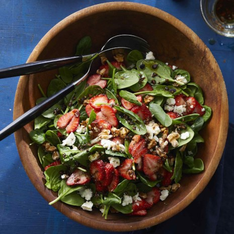 Spinach-Strawberry Salad with Feta & Walnuts