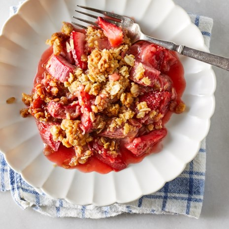 Strawberry-Rhubarb Cobbler with Granola Streusel