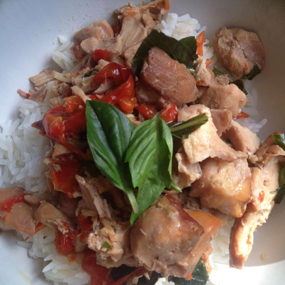 Easy Slow Cooker Thai Chicken with Basil