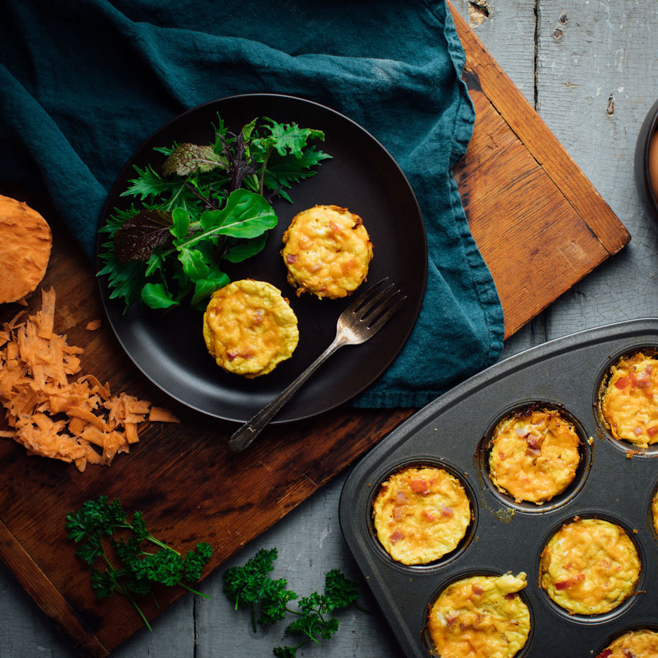 Shredded sweet potato hash browns make up the healthy crust of these gluten-free muffin-tin quiches. This grab-and-go breakfast is super-easy to prep ahead and keep stashed in the fridge or freezer. Serve them for brunch or eat them on busy weekdays.