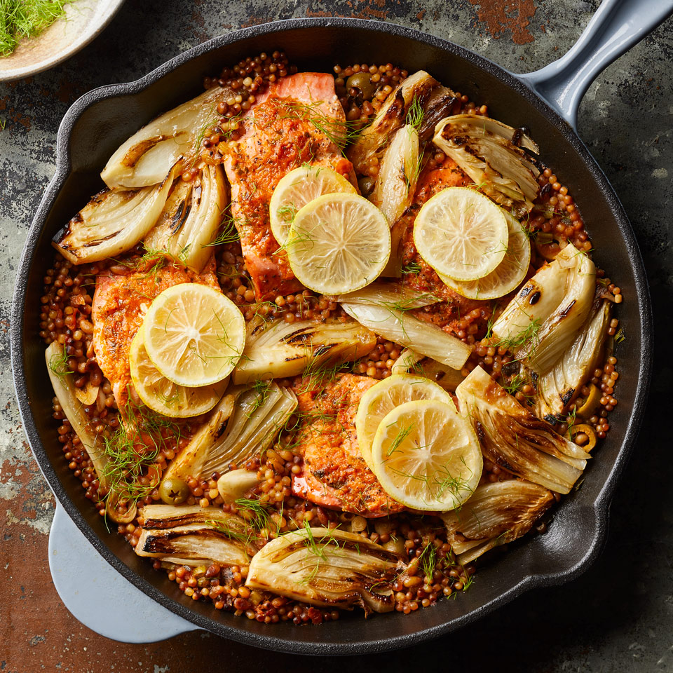 One-Skillet Salmon with Fennel & Sun-Dried Tomato Couscous Breana Killeen
